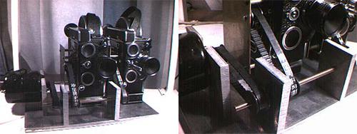 """Kuvissa: Kolmiulotteisia kuvia (1991) -lyhytelokuvan (Ohjaus: Juho Gartz) kuvaukseen käytetty Jan-Eric Nyströmin rakentama <a href=""""http://www.sparetimelabs.com/animato/animato/3d/3d2.html"""" title=""""kaksoiskamera"""" target=""""_new""""> kaksoiskamera</a>. Kuvat: Jan-Eric Nyström ©"""
